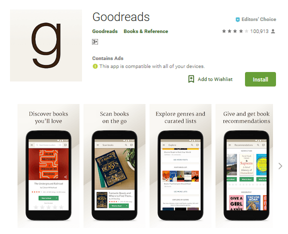 Goodreads application for users