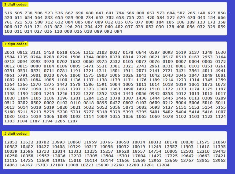 samsung tv codes list